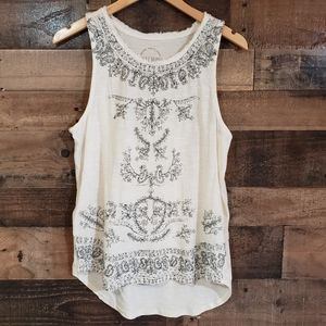 Lucky brand embroidered curved hem tank top